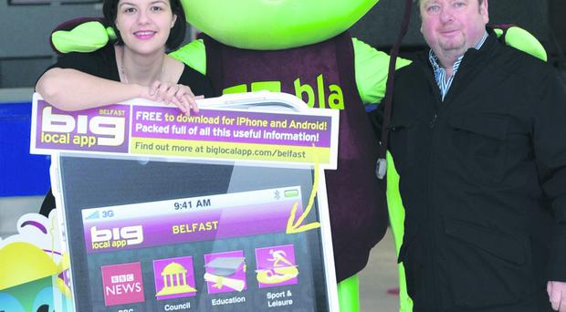 Martin Duddy launching The Big Local App Belfast at Belfast International Airport yesterday with Deborah Harris, airport PR manager