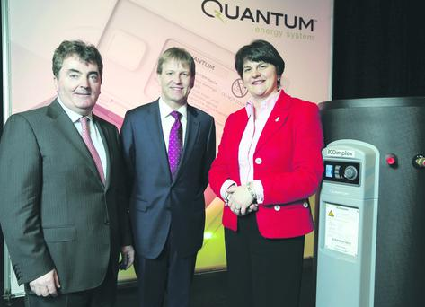 Enterprise Minister Arlene Foster joins Glen Dimplex Group Chairman and CEO Sean O'Driscoll (left) and Managing Director Neil Stewart at the launch of the company's 'Quantum' system which will create 37 new jobs.