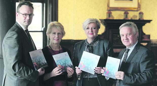 Ellen Remmer, of The Philanthropic Initiative USA (second left), guest speaker at the Corporates and Philanthropy Event co-hosted by Giving Northern Ireland and the Institute of Directors, with (from left) Ian Huddleston, Sandara Kelso-Robb and Gary Mills from Giving Northern Ireland