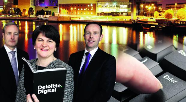 Enterprise Minister Arlene Foster with Kevin Walsh, partner, Deloitte and Danny McConnell, technology partner, Deloitte, after annoucing the jobs boost for Belfast