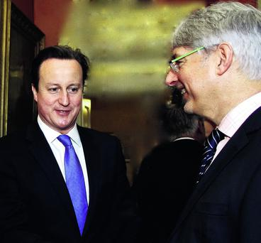 David Cameron with the Northern Ireland Chamber of Commerce President Mark Nodder