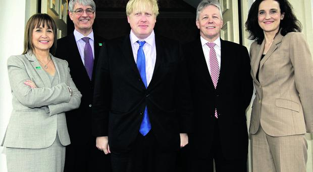 (From left): Ann McGregor, chief executive of NI Chamber of Commerce, Mark Nodder, president of NI Chamber of Commerce, London Mayor Boris Johnson, First Minister Peter Robinson and Secretary of State Theresa Villiers.
