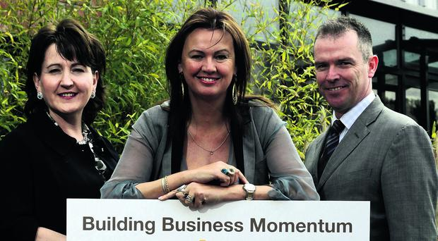 Press Release Image NO FEE Presseye Northern Ireland - 7th May 2013 Mandatory Credit - Brian Thompson/Presseye.vom   Bank of Ireland UK today unveiled its packed programme for the forthcoming Enterprise Week which will take place from May 17th - 24th.  'Building Business Momentum' will be the theme of the week long initiative and will include a flagship seminar at Ravenhill and at the Playhouse in Derry, training courses and business clinics along with the ever popular Show Your Business in-branches across Northern Ireland.   Pictured at the launch from left are: Mary Keightley, Managing Director, Mind Associates; Alyson Hogg, CEO, Vita Liberata, the self-tanning company; and Ciaran McGivern, Head of Business Banking, Bank of Ireland UK all of whom will speak at the Ravenhill event on May 22nd.