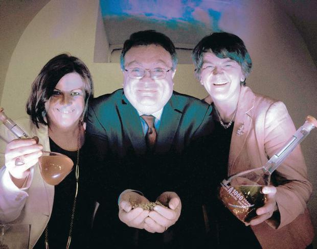 Going green: Jill Cush of South West College, Employment and Learning Minister Stephen Farry, Enterprise Minister Arlene Foster