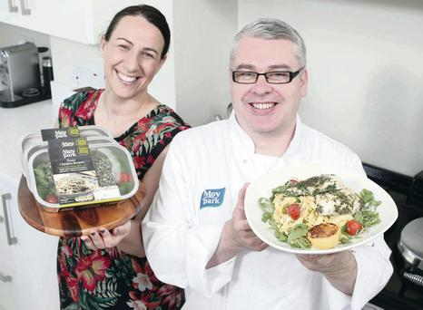 Moy Park's Executive Chef Aaron Dixon with its Brand Marketing Manager Briege Finnegan ©Press Eye Ltd Northern Ireland