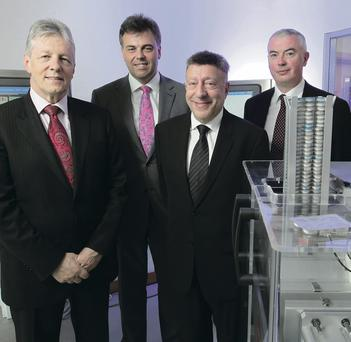 The sale of east Belfast's Sepha to TASI Group in the US is one of the biggest corporate deals of the year so far. Chief executive John Haran (far right), First Minister Peter Robinson and Invest NI chief executive Alastair Hamilton welcome TASI Group president and chief executive David Huberfield (second right) to Sepha on a recent visit
