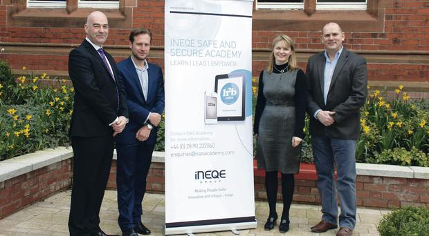 At a Twitter conference held earlier this year at Riddel Hall, Queen's University Management School are, from left to right: Gordon Scobbie, former Deputy Chief Constable at Tayside Police & ACPO lead for Social Media; Paul Moffett, product manager at RepKnight; Sinead McSweeney, director, Public Policy Europe at Twitter and Jim Gamble, CEO at INEQE