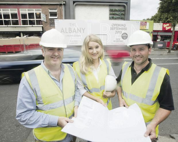 Graham O'Donnell of O'Donnell O'Neill Design Associates, with Eve Wallace, marketing manager of The Albany and Steven Young of McCue's Fit Out