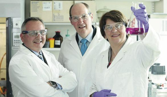 Prof David Waugh, director, Centre for Cancer Research and Cell Biology, Alan Armstrong, CEO Almac and Enterprise Minister Arlene Foster