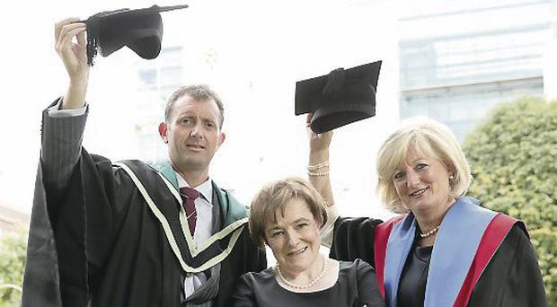 Tracy Hamilton (right), from Mash Direct and Ian McConnell, from PwC, with Professor Marie McHugh, Dean of the Ulster Business School