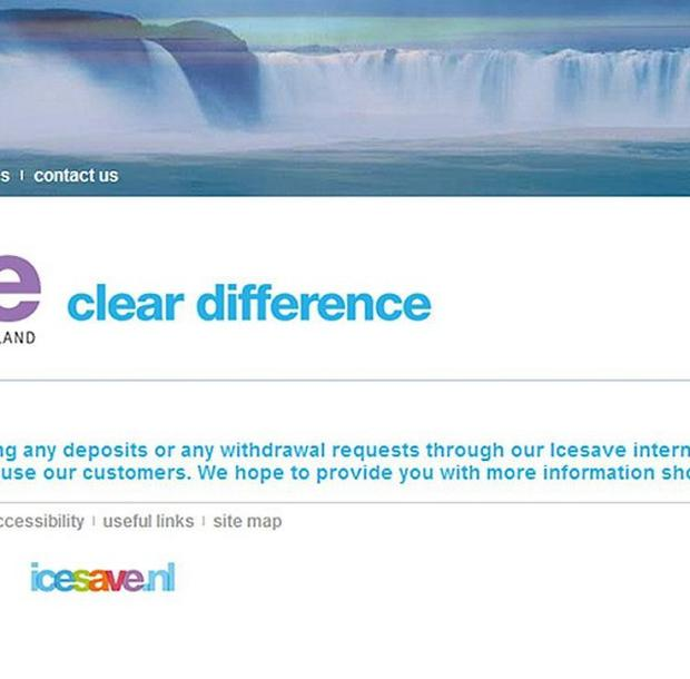 Screengrab taken from the website of Icesave, showing a notice that it has stopped UK customers withdrawing or depositing money.