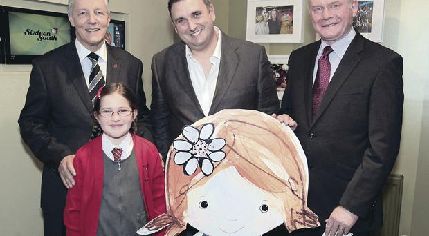 First Minister Peter Robinson and Deputy First Minister Martin McGuinness met Sixteen South creative director Colin Williams and Orlagh O'Keefe, who voices Driftwood Bay's main character, Lily