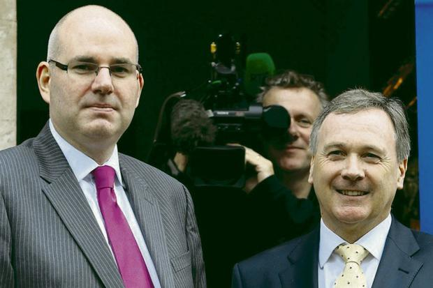 Managing Director of UTV Television Michael Wilson (left) and Group Chief Executive of UTV Media plc John McCann at a press conference in the Merrion Hotel, Dublin.