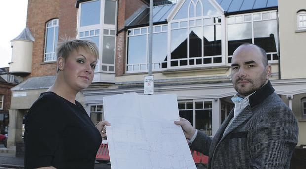 Chelsea Manager Lisa Kelly and architect David Bingham from Kris Turnbull showing the plans of the new look Chelsea Bar