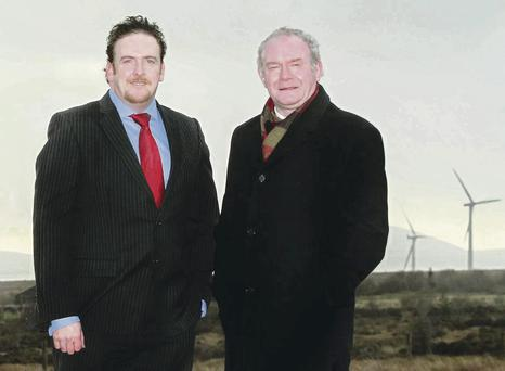At the opening of the £125m Slieve Kirk Wind Park yesterday are Paul Cooley, general manager Ireland of SSE Renewables, and Deputy First Minister Martin McGuinness