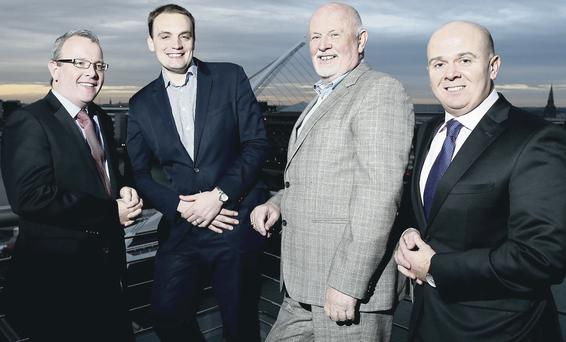 Tom Nolan, head of Corporate Finance at Gaelectric, Alan Harling, associate director of German bank, Nord/LB, Brendan McGrath, CEO Gaelectric, and Pat Walsh, head of Irish investments at BlueBay Asset Management