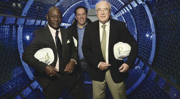 EMS recycle managing director, Harry McCourt (far right), with Paul O'Callaghan, chief executive of WestAfricaENRG, and Otunba Babajide Roger, chairman WestAfricaENRG, at the firm's plant in Killyman, Tyrone