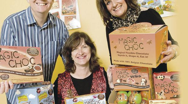 Stephen Lennie of Choc-o-Bloc, with Olive Hill, Invest NI director of innovation and technology (middle), and Karen Lennie of Choc-o-Bloc