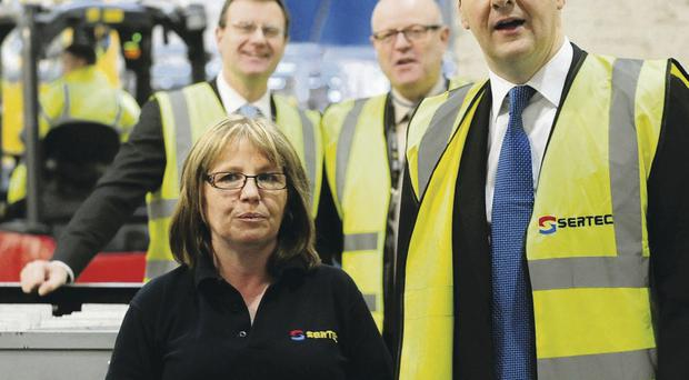 Chancellor George Osborne during a visit to manufacturing company Sertec, in Birmingham, where he gave a speech on his outlook for the economy yesterday
