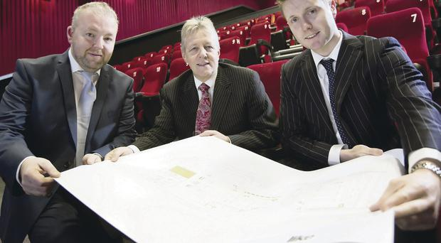 Ciaran Deazley from Life Architects, First Minister Peter Robinson and Paul John Anderson from operations director at Omniplex Cinemas