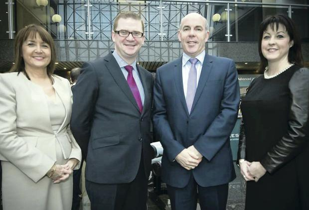 Ann McGregor of the Northern Ireland Chamber of Commerce, Finance Minister Simon Hamilton, David Beatty of Thales UK and Brenda Morgan of British Airways at the first of the Minister On The Move events