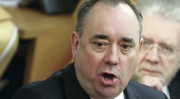 Scotland's First Minister Alex Salmond during First Ministers Questions at the Scottish Parliament in Edinburgh.