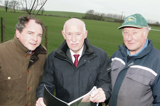 David Maguire, director of BNRG Renewables, Sean McMullan, BNRG Northern Power project manager, and land owner David Chambers at the location of the new large-scale solar farm in Downpatrick