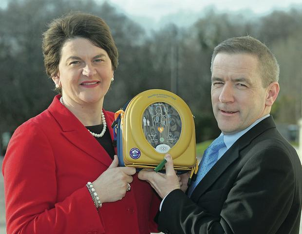 Arlene Foster with Declan O'Mahoney, chief executive of HeartSine Technologies