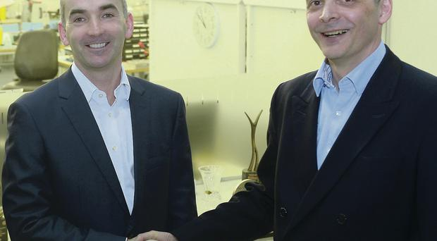 Conor Walsh, chief executive of Andor Technologies with Jonathan Flint, chief executive of new owners Oxford Instruments