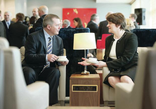 Willie Walsh, chief executive of International Airlines Group, who officially opened the new British Airways lounge, with Enterprise Minister Arlene Foster