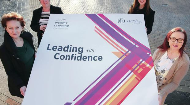 Launching the Women's Leadership Conference with Helen Kirkpatrick (second left) were (left) Roisin McDonough from the Chief Executives Forum; Linda Brown, director of IoD Northern Ireland; and managing director of Legal-Island, Jayne Finlay