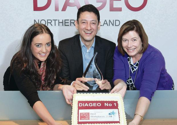 Celebrating with the award from Diageo Northern Ireland are Gemma Bell, corporate relations manager; Jorge Lopes, country director; and Lynn Graham, HR business partner