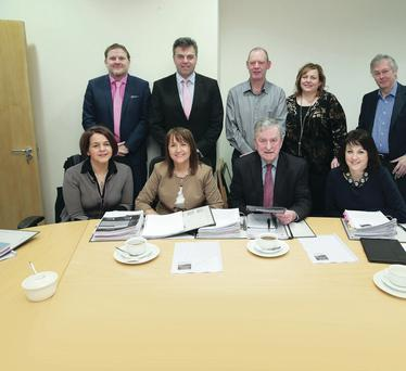 Judges are pictured after sifting through entries. Front row left to right: Jackie Henry, Deloitte; Anne McGregor, NI Chamber of Commerce; Professor John Simpson, chairman of judges; Brenda Morgan, British Airways. Back left to right: Professor Neil Gibson, NI Centre for Economic Policy; Alastair Hamilton, Invest Northern Ireland; Robert Kennedy, Caterpillar; Dr Joanne Stewart, Attrus Ltd and Colin Walsh, Crescent Capital and chairman of CBI (NI)