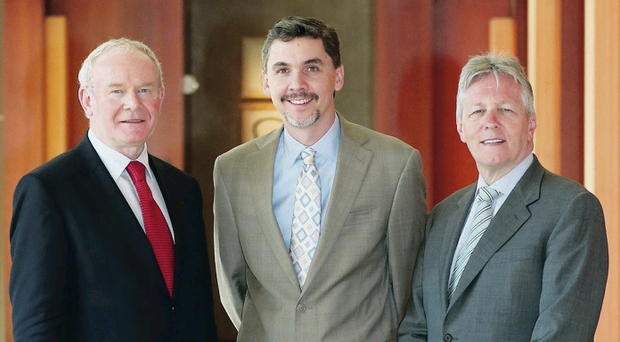 First Minister Peter Robinson and the Deputy First Minister Martin McGuinness meet Christopher Caldwell, President of Concentrix Corporation and General Manager, SYNNEX Global Business Services, at the meeting with more than 120 Silicon Valley businesses