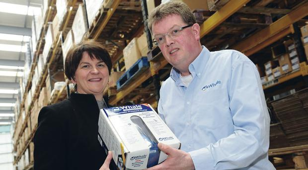 Arlene Foster with Whale managing director Patrick Hurst MBE