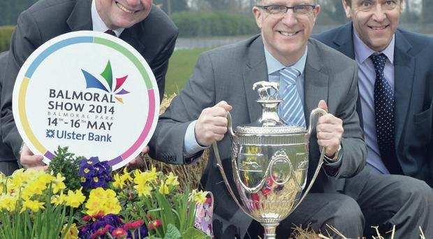 Ian Jordan, (centre), Director, Corporate Banking Division, Ulster Bank, Colin McDonald (left), Chief Executive of the RUAS, and Cormac McKervey (right), Senior Agriculture Manager, Ulster Bank, officially launched the 2014 Balmoral Show at the King's Hall complex