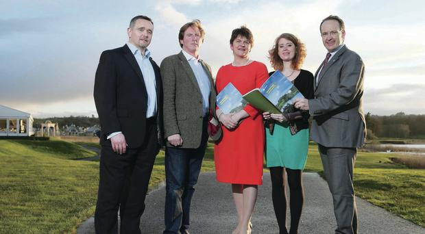 Enterprise Minister Arlene Foster (centre) was joined at Lough Erne Resort by (from left) Marc Kavanagh of Journeys Connect in New York, actor and Fermanagh native Adrian Dunbar, Rosannah Cherrill from Travco LLP in England and Howard Hastings of the NITB