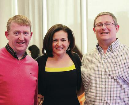 Total Hockey boss Alan McMurray (right) with Facebook's Sheryl Sandberg and Des Mulholland from The Retail Consultant