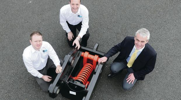 The design team from Hill Engineering – (from left) design engineer Sean Connolly, engineering manager Neal Loughran and managing director Ian Hill – show off the company's TEFRA