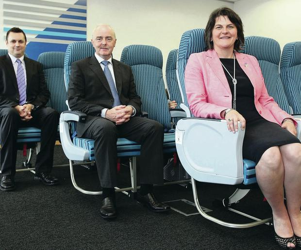 Flying high: Arlene Foster on a visit to B/E Aerospace in 2012.
