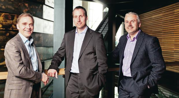 Chris Roche (left), chief commercial officer at Aridhia, Dr Stephen McKeown (centre), chief executive at Analytics Engines and Mark Lewis, senior director marketing for Europe, Middle East and Africa at Cloudera