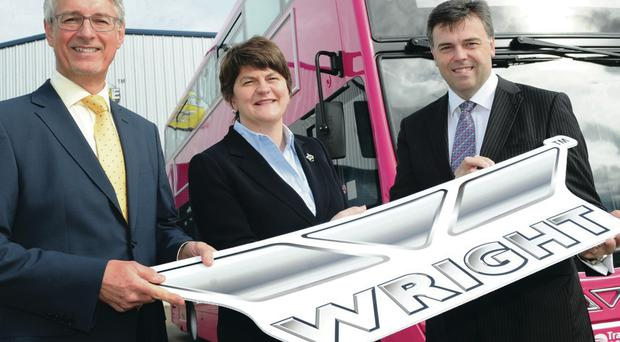 Right road: Mark Nodder, Wright Group MD, Arlene Foster, Enterprise Minister, and Alastair Hamilton, chief executive of Invest NI, announcing the new jobs being created yesterday