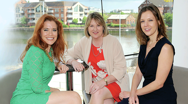 US speaker and Entrepreneur-in-Residence with Dell Inc, Ingrid Vanderveldt (left), the Chief Executive of Women in Business NI Roseann Kelly (centre) and the Editor-in-Chief of Huffington Post UK Carla Buzasi at yesterday's opening of the inaugural International Business Women's Conference