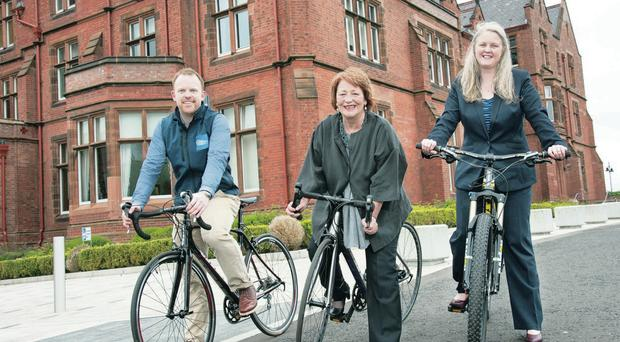From left: Paul McAfee, trading manager with Chain Reaction Cycles, Anne Clydesdale, director of the William J Clinton Leadership Institute, and Maybeth Shaw, business partner at BDO Northern Ireland