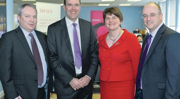 Enterprise Minister Arlene Foster announces the jobs boost in Spence and Partners' offices yesterday along with, from left, the company's Neil Copeland, Brian Spence and David Davison