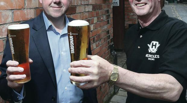 Yardsman master brewer Stewart Main (right) with Hercules Brewing Company owner Niall McMullan