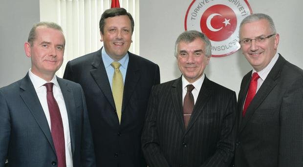 John Doran (left) of Belfast International Airport and Regional Development Minister Danny Kennedy (right) with Honorary Turkish Consul David Campbell (second left) and Turkish Ambassador to the UK Unal Cevikoz