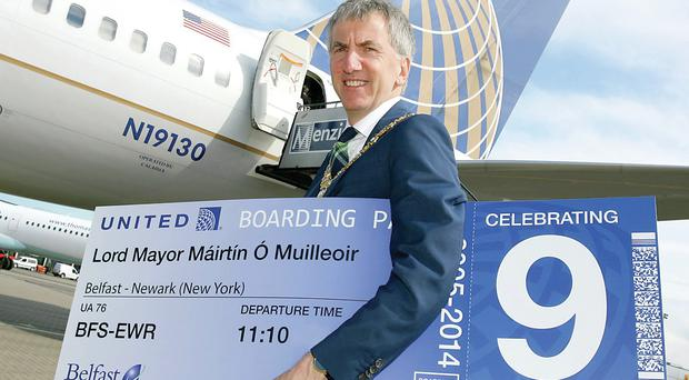 Belfast's Lord Mayor Máirtín Ó Muilleoir is in New York drumming up interest in investing in Belfast