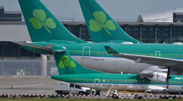 Aer Lingus planes at Dublin Airport as 200 flights have been disrupted by a cabin crew strike at the start of the bank holiday weekend in Ireland