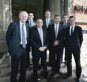 Keith Shiells, Stuart Draffin (both BTWShiells), Massimo Marcovecchio, commercial director, Lambert Smith Hampton, Paul Gamble, BTWShiells, Ezra Nahome, CEO, Lambert Smith Hampton, Donall McCann and Paddy Brennan (both BTWShiells) outside's BTWShiell's offices in Belfast